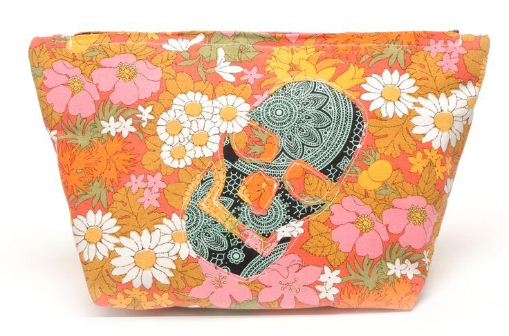 Floral skull wash bag