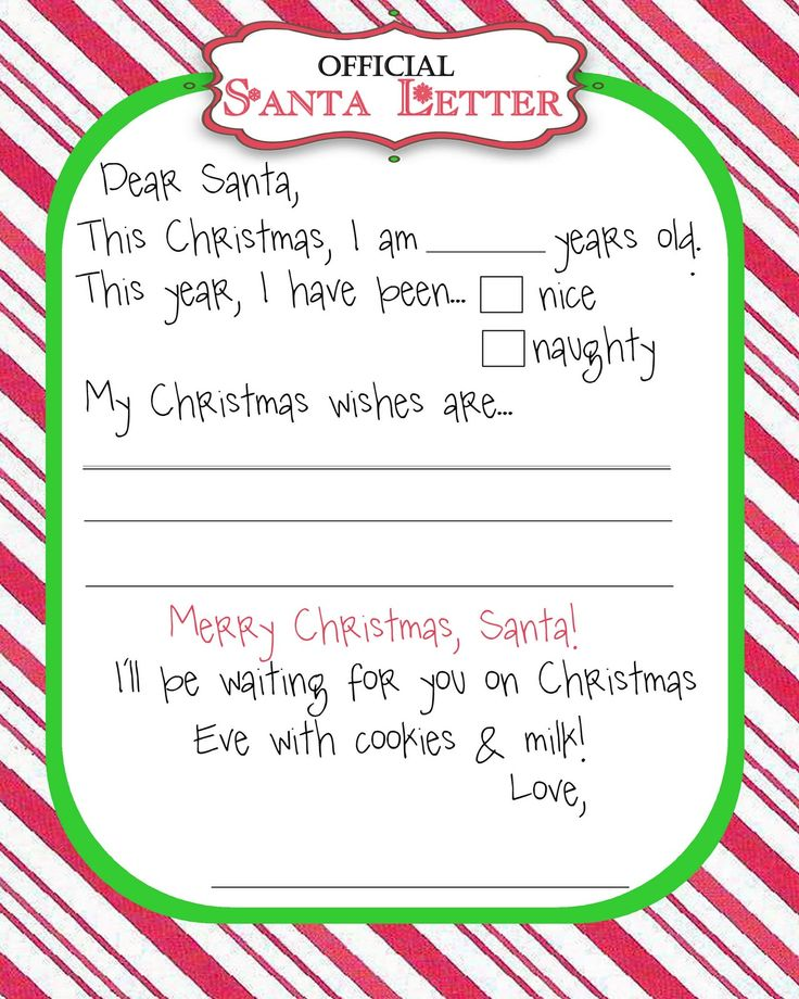 17 Best ideas about Letter To Santa Template – Santa Claus List Template
