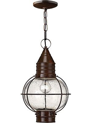 Exterior Entry Lighting. Solid Brass Cape Cod Hanging Porch Light With Clear Seedy Glass