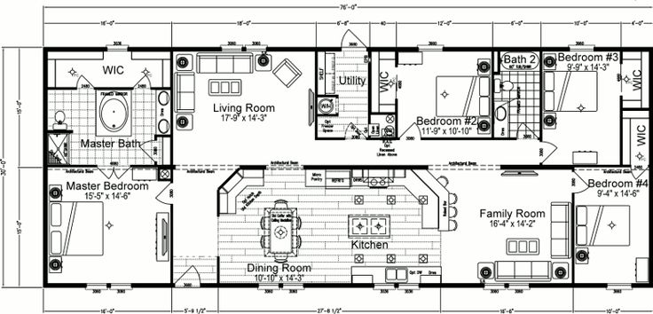 4 bedroom mobile home plans bedroom double wide mobile for Double wide floor plans with photos