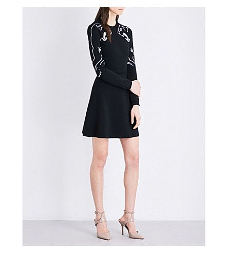 VALENTINO Panther jacquard-print knitted dress