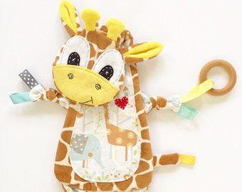 Giraffe Mini Lovey Neutral Baby Blanket Organic by SewDPopShop