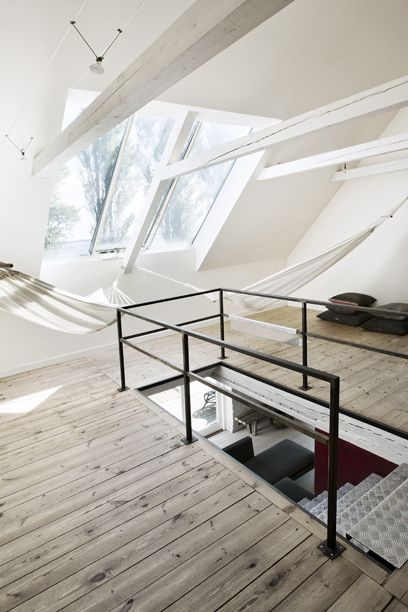 Hammocks in the attic | The best attic home design ideas! See more inspiring images on our boards at: http://www.pinterest.com/homedsgnideas/attic-home-design-ideas/