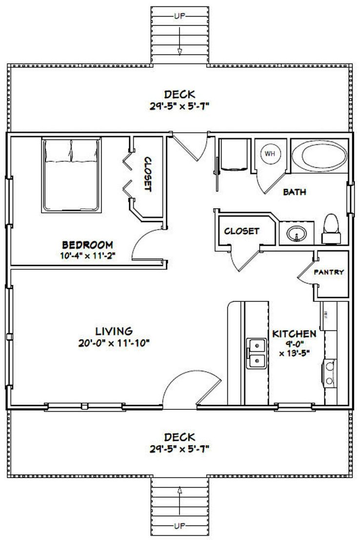 10x10 Bedroom Floor Plan: 30x24 House 1-Bedroom 1-Bath 720 Sq Ft PDF Floor Plan