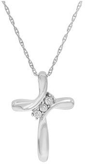 Amanda Rose Collection Three Diamond Cross Pendant-necklace In Sterling Silver On An 18 Inch Sterling Silver Chain.