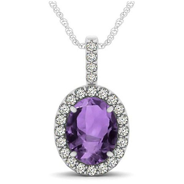 Allurez Amethyst & Diamond Halo Oval Pendant Necklace 14k White Gold... ($2,210) ❤ liked on Polyvore featuring jewelry, necklaces, oval pendant necklace, amethyst pendant necklace, purple pendant necklace, white gold necklace and 14 karat white gold necklace