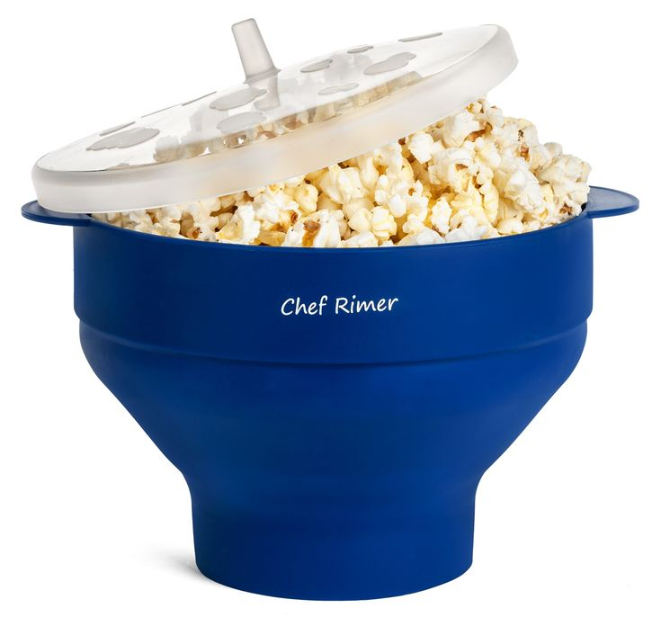 Chef Rimer Microwave Popcorn Popper Sturdy Convenient Handles Healthy No Oil Silicone Blue Collapsible Hot Air Movie Theater Aroma Great Popcorn Maker Machine Bowl.BPA PVC Free With Lid