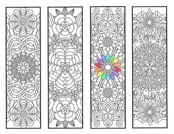Segnalibri da colorare - Flower mandala pagina 1 - disegni da colorare per adulti, i ragazzi più grandi e il residente bookworm - quattro segnalibri stampabili a colori