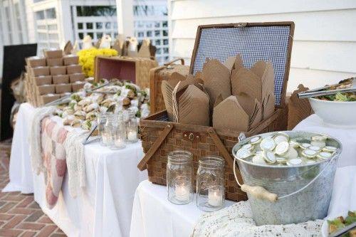 Kraft Picnic Box Wedding Buffet #picnicweddings #outdoorweddings #bridalshowers
