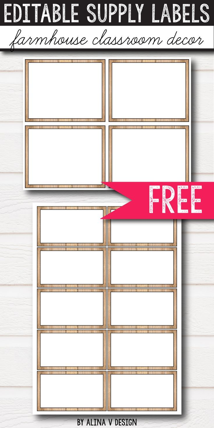 FREE Editable classroom labels for preschool, kindergarten, and middle school classroom decor. These feel labels will look amazing in your farmhouse, rustic or shabby chic classroom. With 2 sizes available, this simple and cute freebie printables can be used as supply labels, labels for book boxes, name tags, library labels and more. The blank templates allow you to add your own words and work perfectly for bilingual classrooms. Stop looking for ideas all around, use these editable labels.
