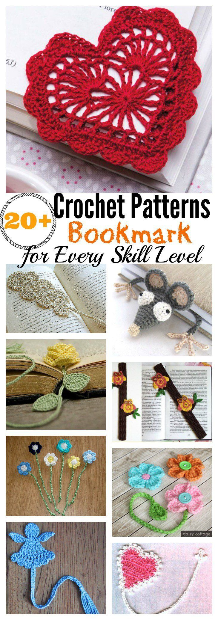 20+ Crochet Bookmark Patterns for Every Skill Level  Definitely want to make many of these.
