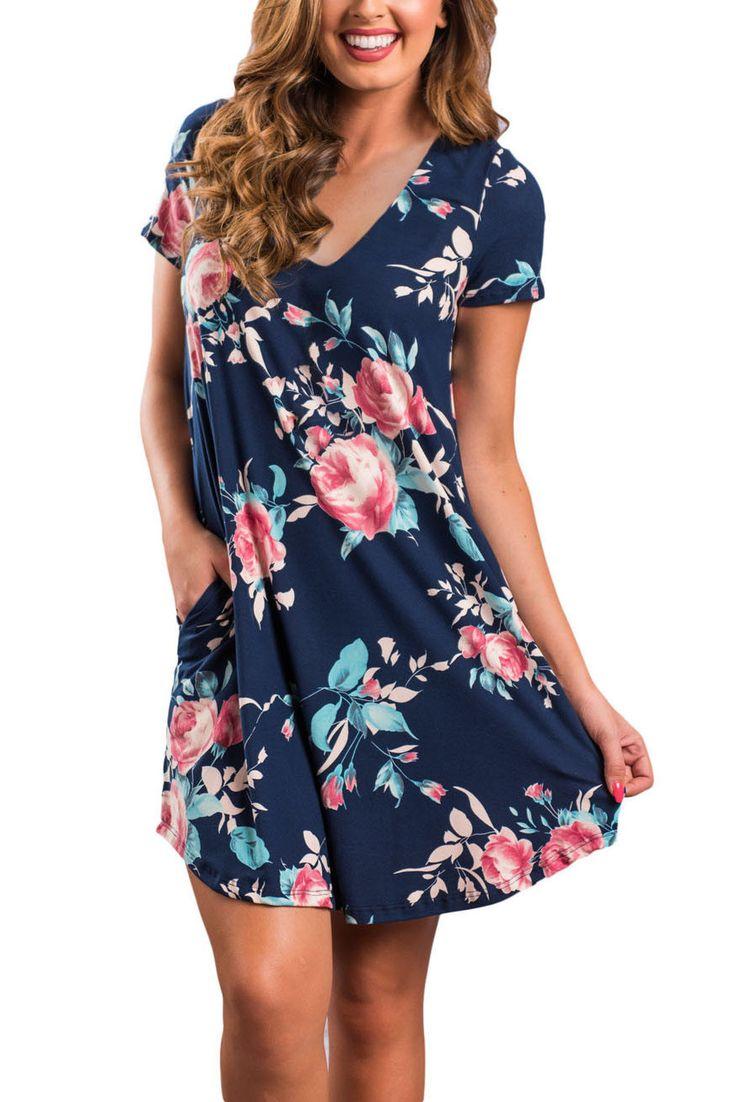 Navy blue Floral V-neck Pocket Shirt Dress