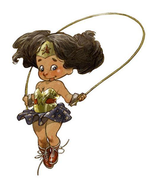 Menina maravilha.  9 Super-heróis desenhados como crianças fofas | ROCK'N TECH