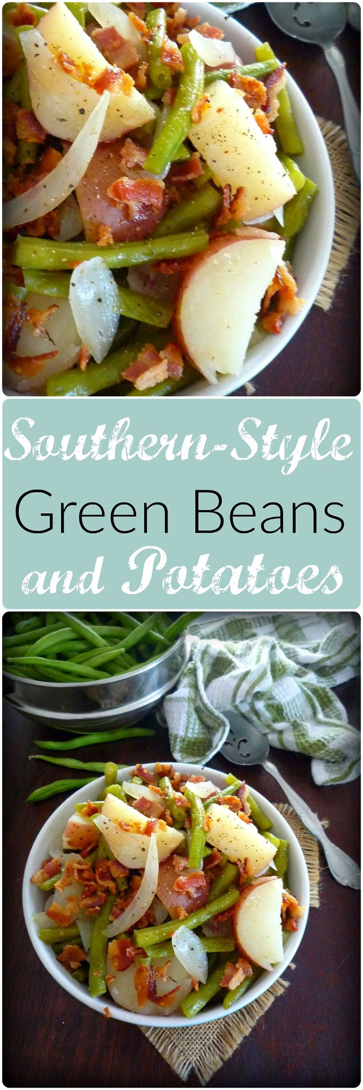 This wonderful recipe for Southern-Style Green Beans and Red Potatoes is made with pure Southern love; combining freshly picked, vibrate green beans, sweet Vidalia onions, sliced red potatoes, and thick sliced hickory smoked bacon slowly cooked to perfection.