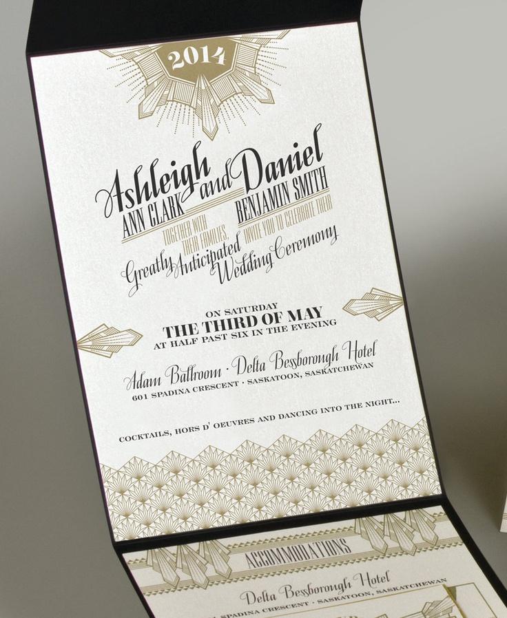 sample wedding invitation letter for uk visa%0A Art Deco Invitation          via Etsy