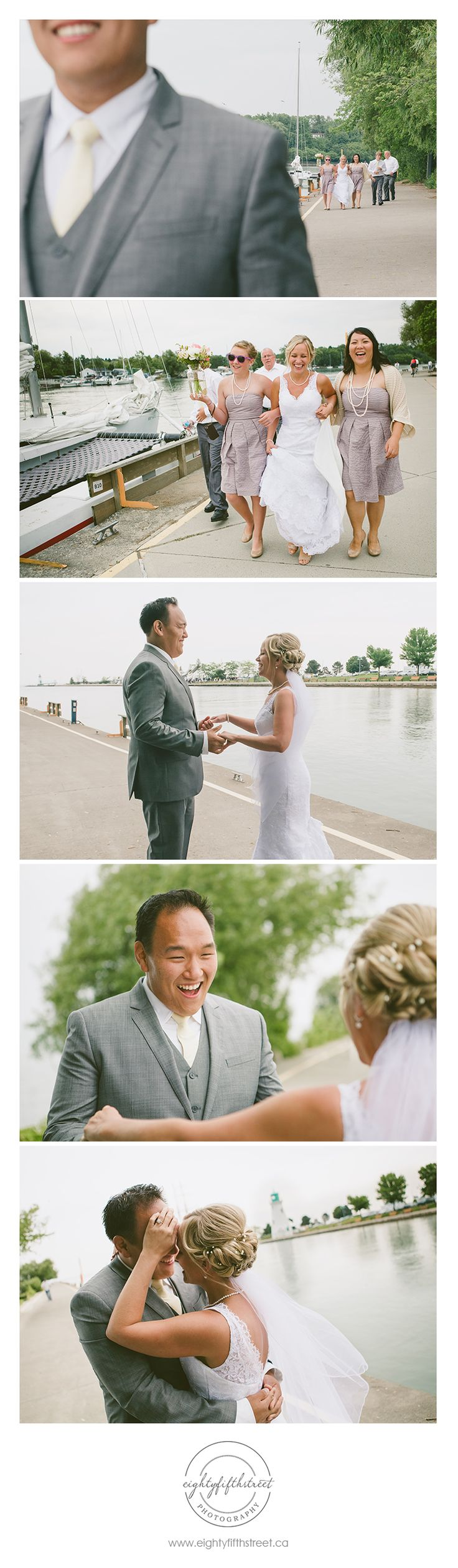 "Adorable ""first look"" photos taken at Port Dalhousie! The groom's reaction to seeing his beautiful bride for the first time was soooo priceless. #eightyfifthstreet #photography #stcatharines #wedding #groom #bride #firstlook"