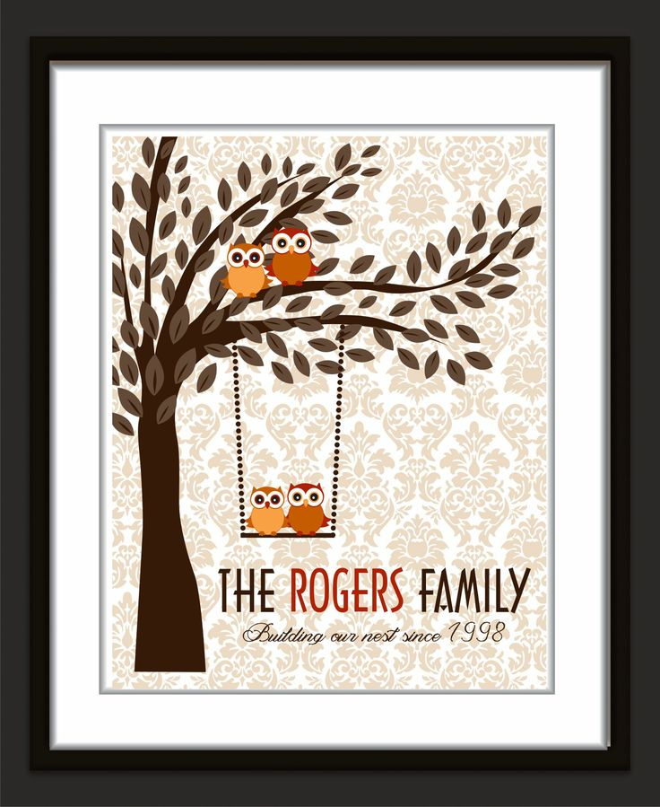 Our family trees and monograms are great decor for your home or make an excellent gift for weddiings, anniversaries, christmas and any occasion a special gift is required. all trees are printed on heavy archival art paper that will not fade for 100 years. its velvety and truly beautiful printed image  you can customize the colors to match your house , you can exchange birds for owls or vice versa.