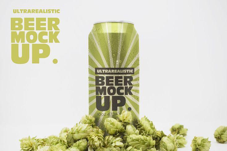 Front 16oz Beer Can Mockup Beer Logo Beer Can Mockup Design