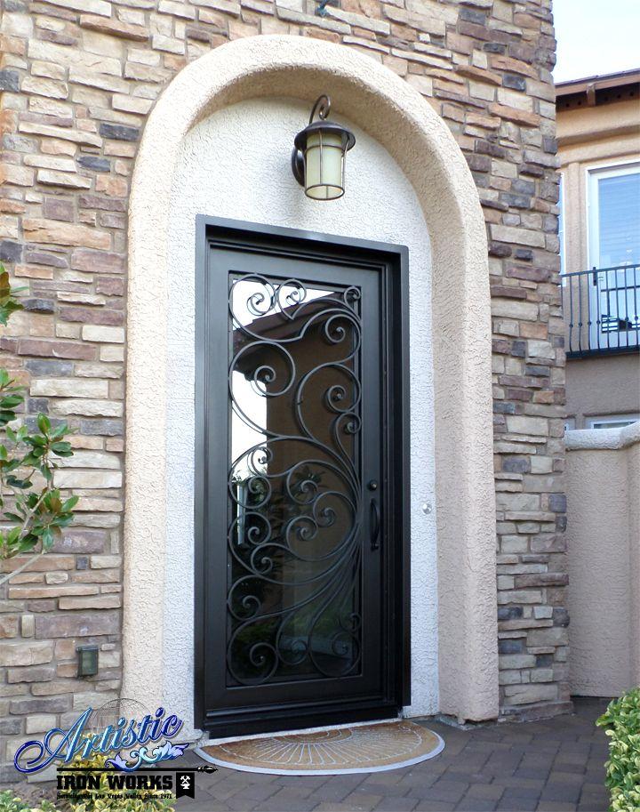Custom Iron & Glass Entryway with scrolls
