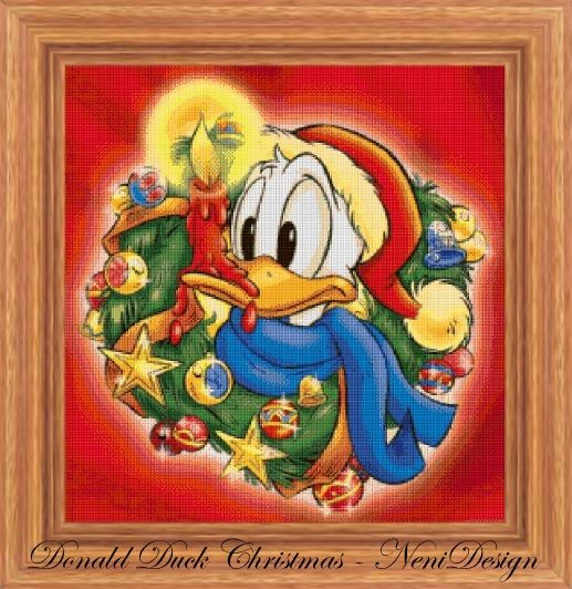 Donald Duck Christmas  cross stitch pattern  PDF by NeniDesign