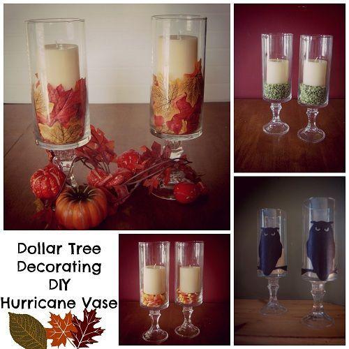 Dollar Tree Decorating DIY :: Hurricane Vase Hurricane Vase DIY - Some inexpensive ideas for fall decorating!