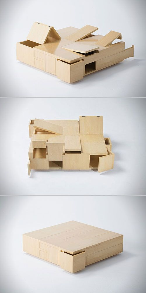 Designed by Naoki Hirakoso and Takmitsu Kitahara, this wooden table has more secret compartments than most people have secrets. We're talking a dizzying array of sliding drawers, shifting panels, and hinged cupboards that are all interconnected way more than a Michal Bay movie plot.