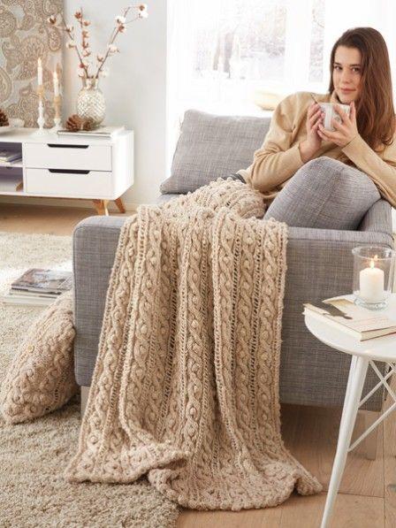 259 besten decken kissen stricken h keln bilder auf pinterest stricken h keln diy. Black Bedroom Furniture Sets. Home Design Ideas