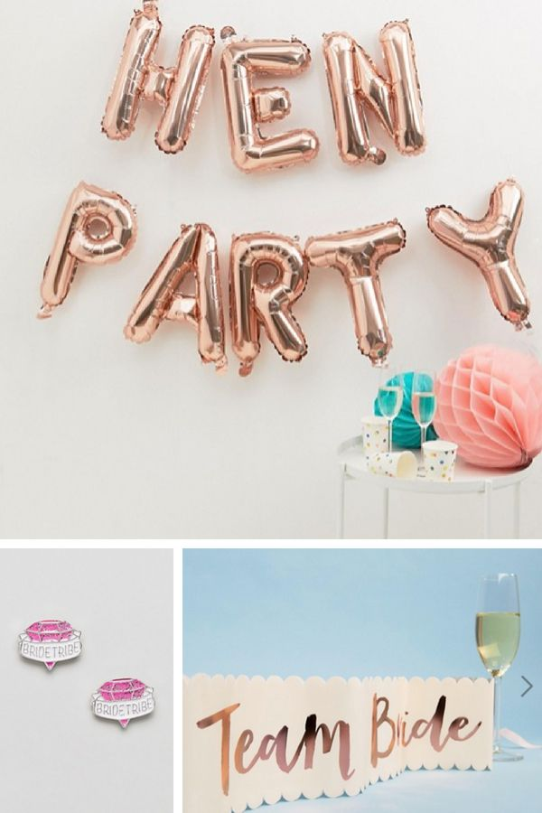 Team Hen Party Ideas From Asos Uk Including Rose Gold Balloons A Bride Sash And Earrings We Talk Weddings Blog