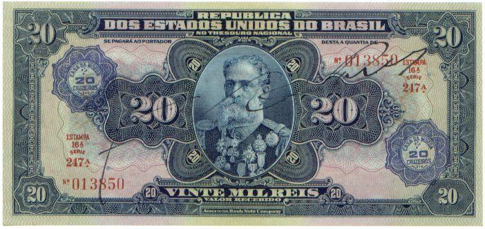 20 Крузейро — 20 Мильрейсов (1942) Бразилия (Brazil) Южная Америка