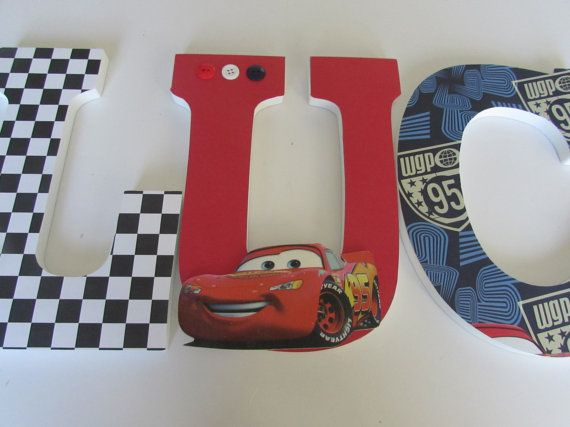 9 Inches Disney cars name wood letters // by Adorablekidsdecor