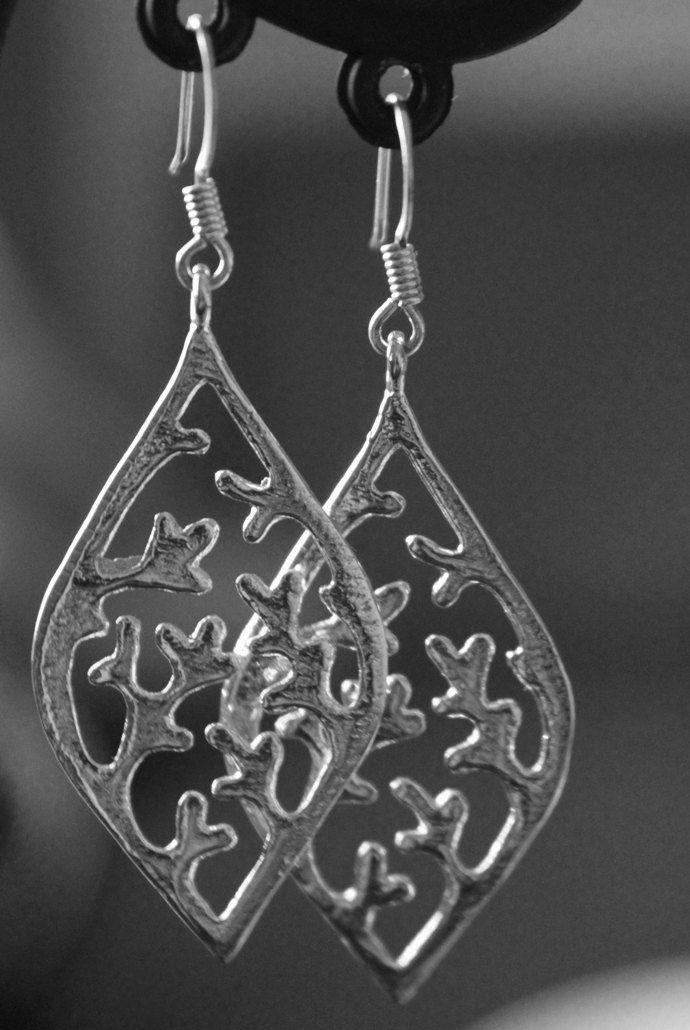 Silver Leaf Earrings, Elkhorn Leaf Earrings, Silver Coral Earrings, Coral Earrings, Elven Forest Earrings, Elven Jewelry, Boho Queen Jewelry by myVardo on Etsy