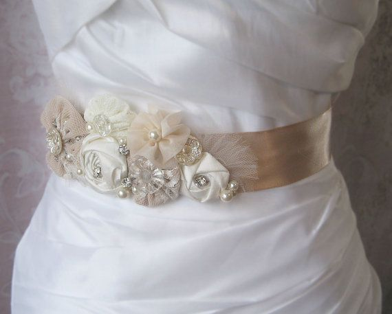 Champagne and Ivory Sash, Rustic Bridal Sash, Vintage Wedding Belt, Rhinestone and Pearl Flower Sash - KATIE via Etsy