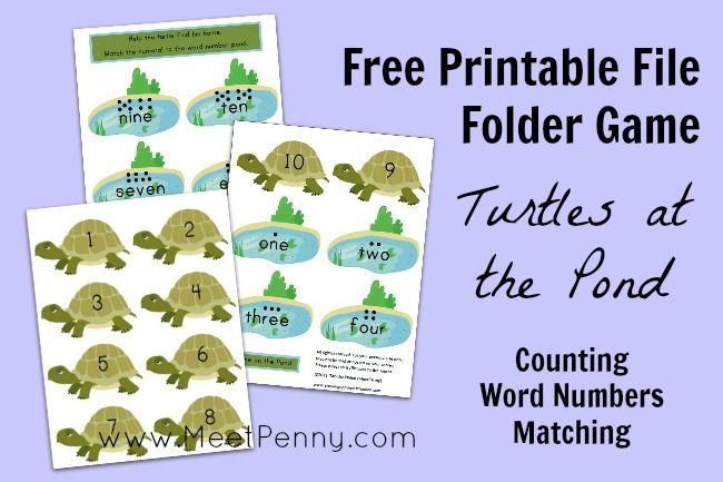 Free printable file folder game: Turtles at the Pond ~ and more free printables at Free Printable Friday