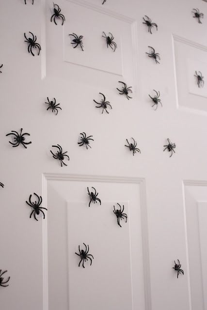 Glue magnets to the back of spiders and put on front door. Cute!