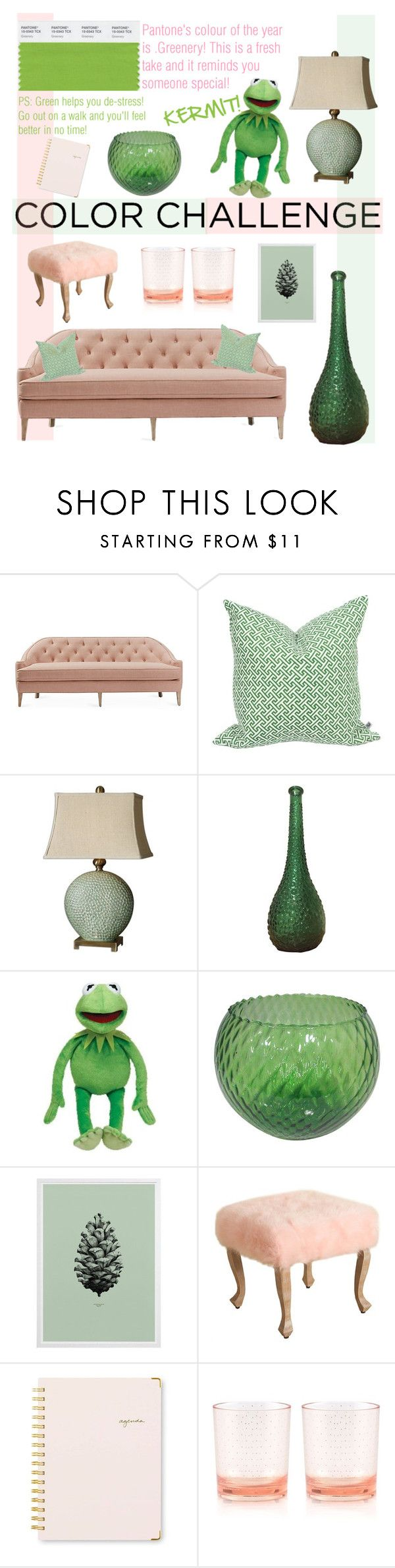 """""""Colour Challenge - Green and Blush - living room"""" by aemun-ahmad ❤ liked on Polyvore featuring interior, interiors, interior design, home, home decor, interior decorating, Dana Gibson, Nina Kullberg, Uttermost and Sugar Paper"""