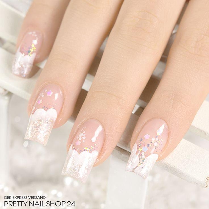 #trendstyle   #trend   #ivory   #nails   #nailart   Die Nagelspitzen in der Farbe Ivory sind hier wie auf weißen Schäfchenwolken gebettet. Etwas Glitzer dazu und fertig ist ein richtig edler Look. Wenn Euch die tolle Naturfarbe auch so gut gefällt, schaut doch mal hier vorbei: http://www.prettynailshop24.de/shop/trendstyle/2015/dezember/trend-ivory.html?utm_source=pinterest&utm_medium=referrer&utm_campaign=pi_trendstyleIvory5315