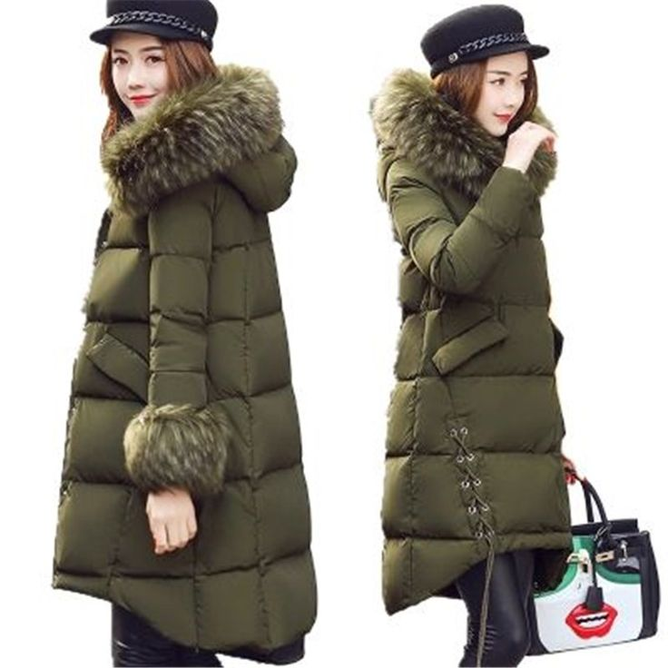 77.00$  Buy here - http://aliujv.worldwells.pw/go.php?t=32782081656 - 2017 New Winter Maternity Women Coat Warm Large Fur Collar Medium Long Fashion Down Cotton Jacket Thick Hooded Down Coat AK259