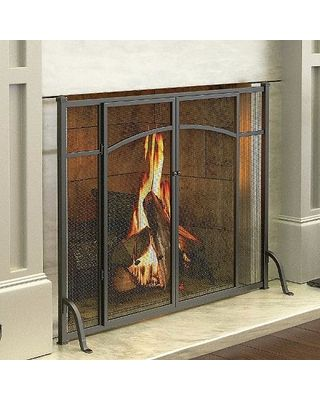 Screen brings traditional styling and graceful detailing to your fireplace. Screen lets you tend the fire through 2 doors. A size 8 mesh screen protects against flying embers. Its space-saving design is ideal for any hearth. Constructed of black, antique-iron finish metal for rustic appeal. Add beauty to your fireplace with the Hyde Park Flat Panel Fireplace Screen with Doors.There's nothing more comforting than a beautiful-and safe-fire, and this screen delivers both of these.
