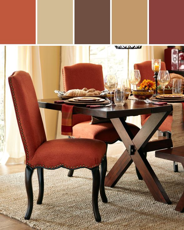 Claudine herringbone dining chair rust designed by pier - Colored kitchen chairs ...