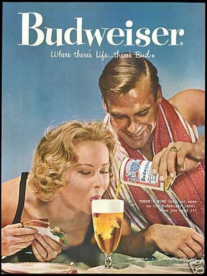 Budweiser Beer Beach Couple Photo Vintage (1958)