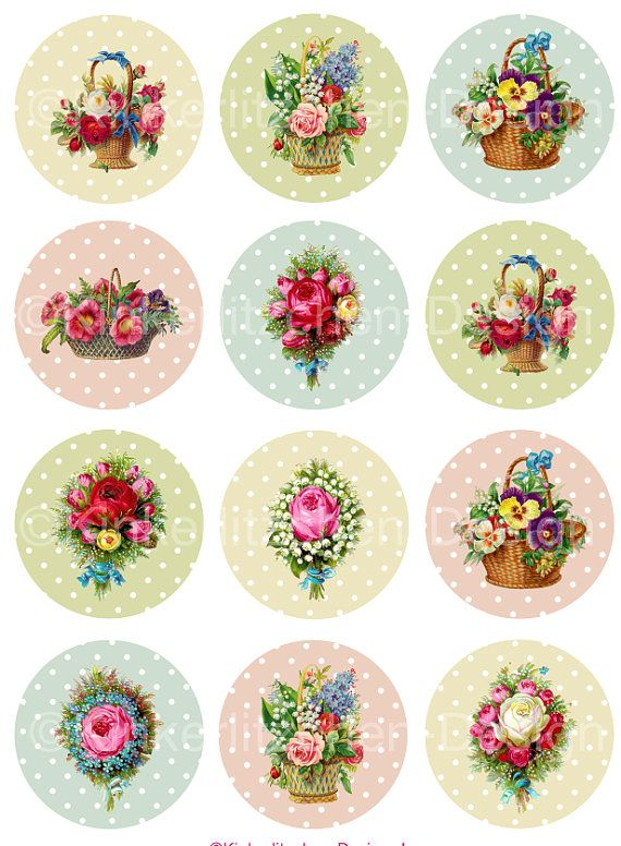 Цифровой коллаж Лист 12 изображений 2 дюйма Круги Романтические Цветы