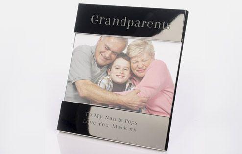 Grandparents Shiny Silver Frame | Engraved Photo Frames