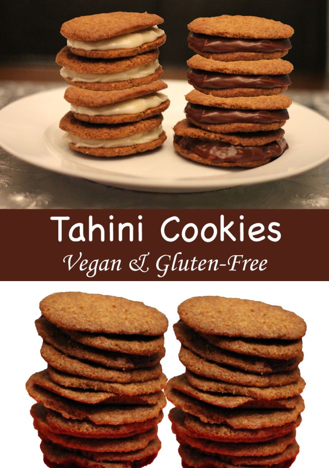 These tahini wafer cookies are gluten and sugar cane free and vegan. Eat them plain or make a sandwich cookie with chocolate or vanilla filling.