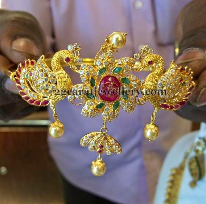Jewellery Designs: 23 Grams Peacock Bajuband