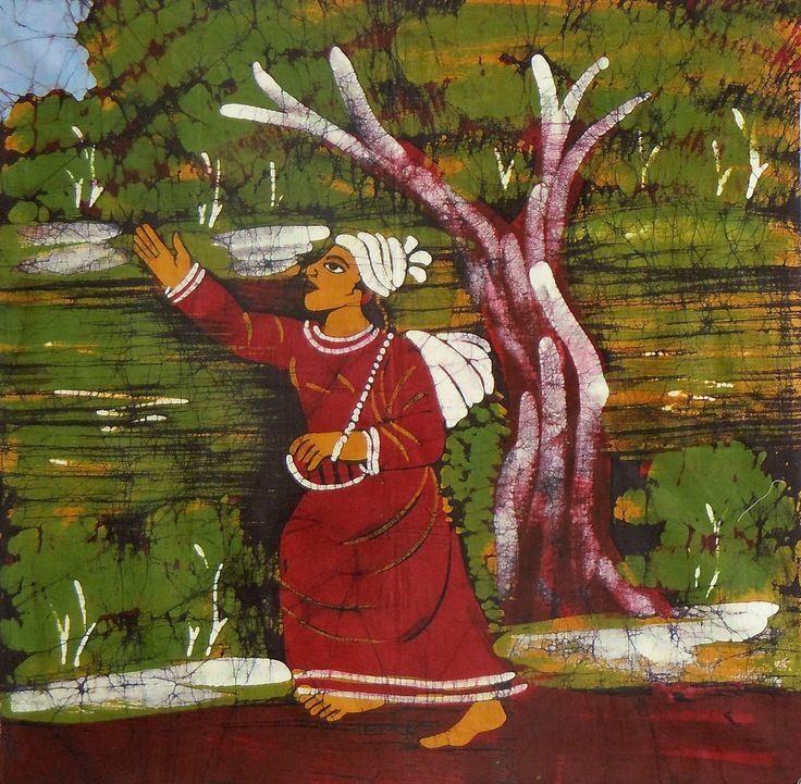 Baul Singer (Batik Painting on Cotton Cloth - Unframed)