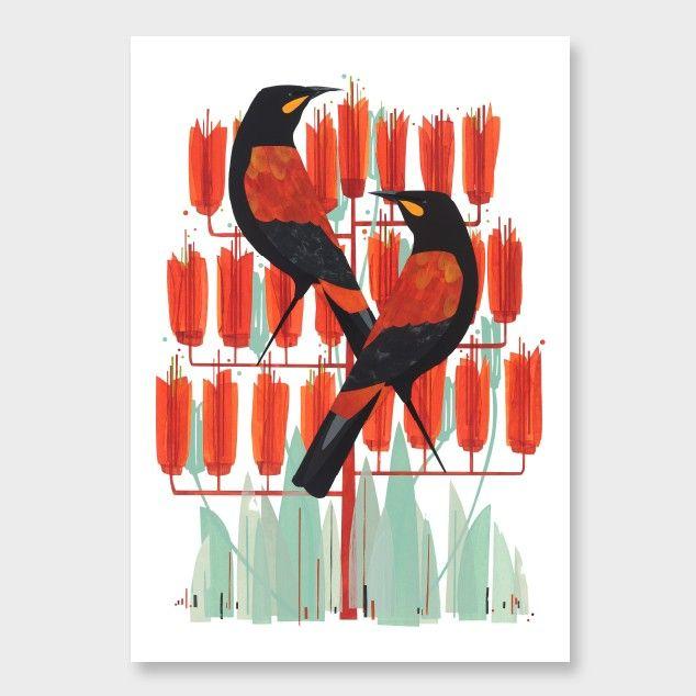 Saddlebacks Print by Holly Roach - Art Prints NZ Art Prints, Design Prints, Posters & NZ Design Gifts   endemicworld