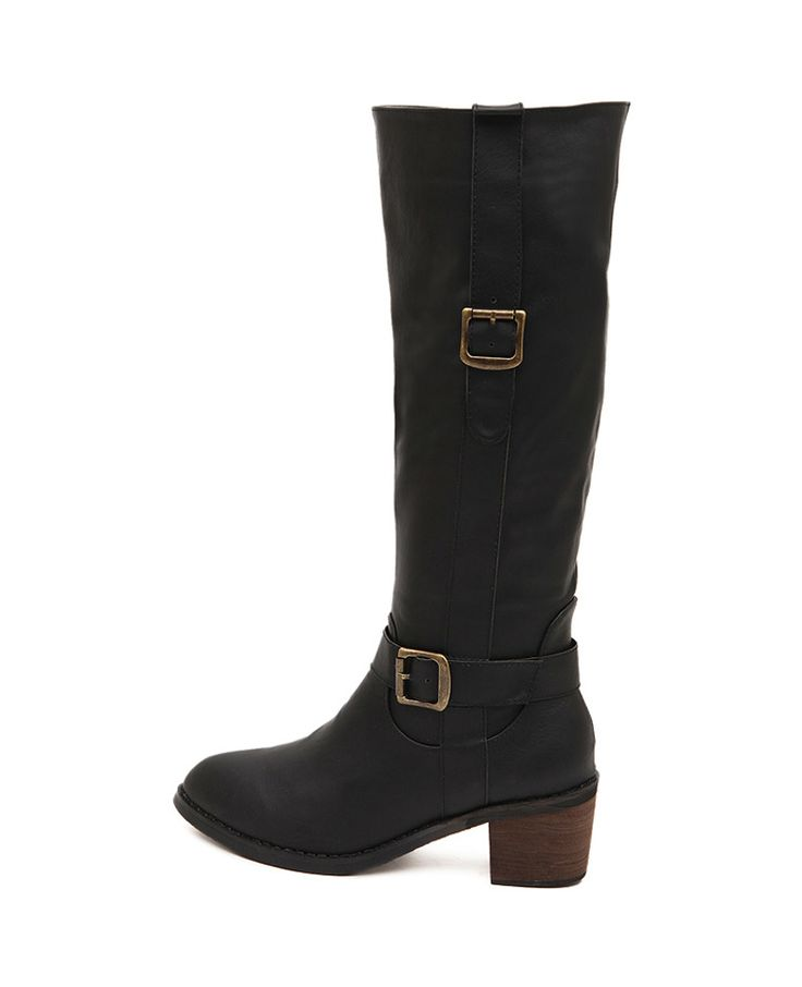 Solid-tone Block-heel Knee-high Boots | BlackFive
