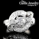 Vintage 1 CTTW  Round Diamond Single Cut Accents 14 K WG Scroll Design Ring