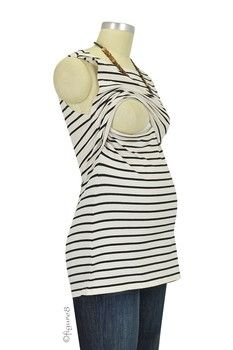 Boob Designs Simone Organic Nursing Tank in Off White & Black Stripes by Boob with free shipping $37