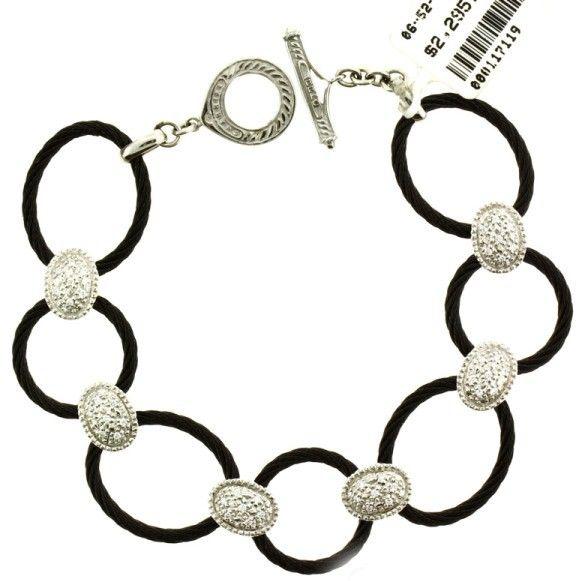 Charriol Philippe Diamond 18 Karat White Gold & Black Steel Bracelet
